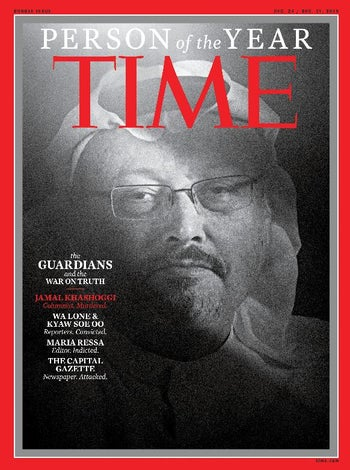 """Saudi journalist Jamal Khashoggi, named TIME's Person of the Year 2018, is seen on the cover which named journalists, including Maria Ressa, a Filipina journalist, and a pair of Reuters journalists imprisoned by Myanmar's government, as its """"Person of the Year,"""" in this image released from New York, U.S., December 11, 2018"""