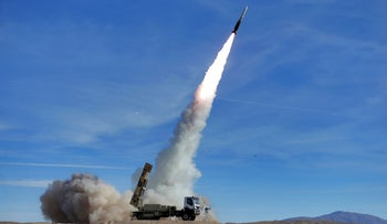 Sayyad 2 missile fired by the Talash air defense system during drills in Iran; photo provided on November 5, 2018.