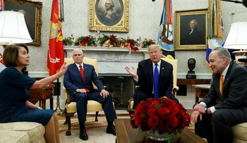 House Minority Leader Nancy Pelosi, Vice President Mike Pence, President Donald Trump, and Senate Minority Leader Chuck Schumer arguing during a meeting in the Oval Office on Dec. 11, 2018.