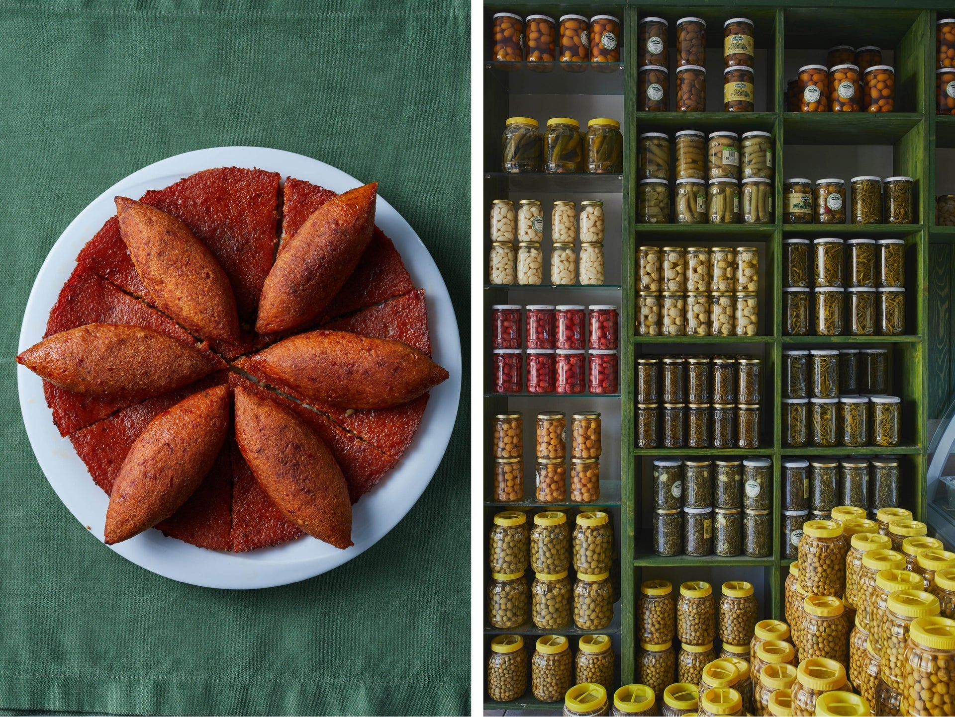 Kibbe and locally made pickles.