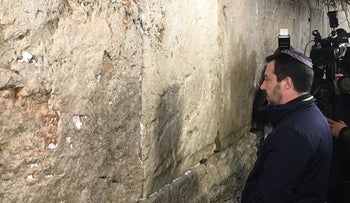Italian Deputy Prime Minister Matteo Salvini at the Western Wall in Jerusalem on December 11, 2018.