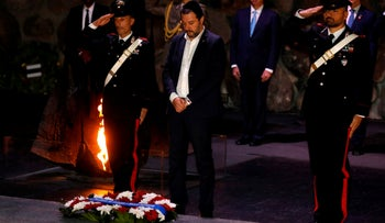 Italian Interior Minister Matteo Salvini visits the Yad Vashem Holocaust Memorial museum in Jerusalem, December 12, 2018.