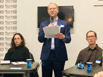 Founder and executive director Naftuli Moster at a Yaffed event in Brooklyn, December 2018.