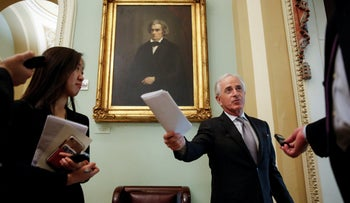 Senator Bob Corker speaks to reporters before a series of votes on legislation ending U.S. military support for the war in Yemen on Capitol Hill in Washington, U.S., December 13, 2018.