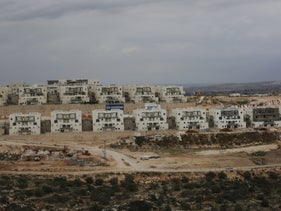 Construction projects underway in Leshem settlement, West Bank, December 2018.