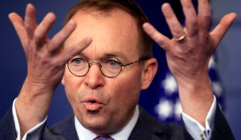 FILE PHOTO: Mick Mulvaney speaks in the Brady press briefing room at the White House in Washington, March 22, 2018.
