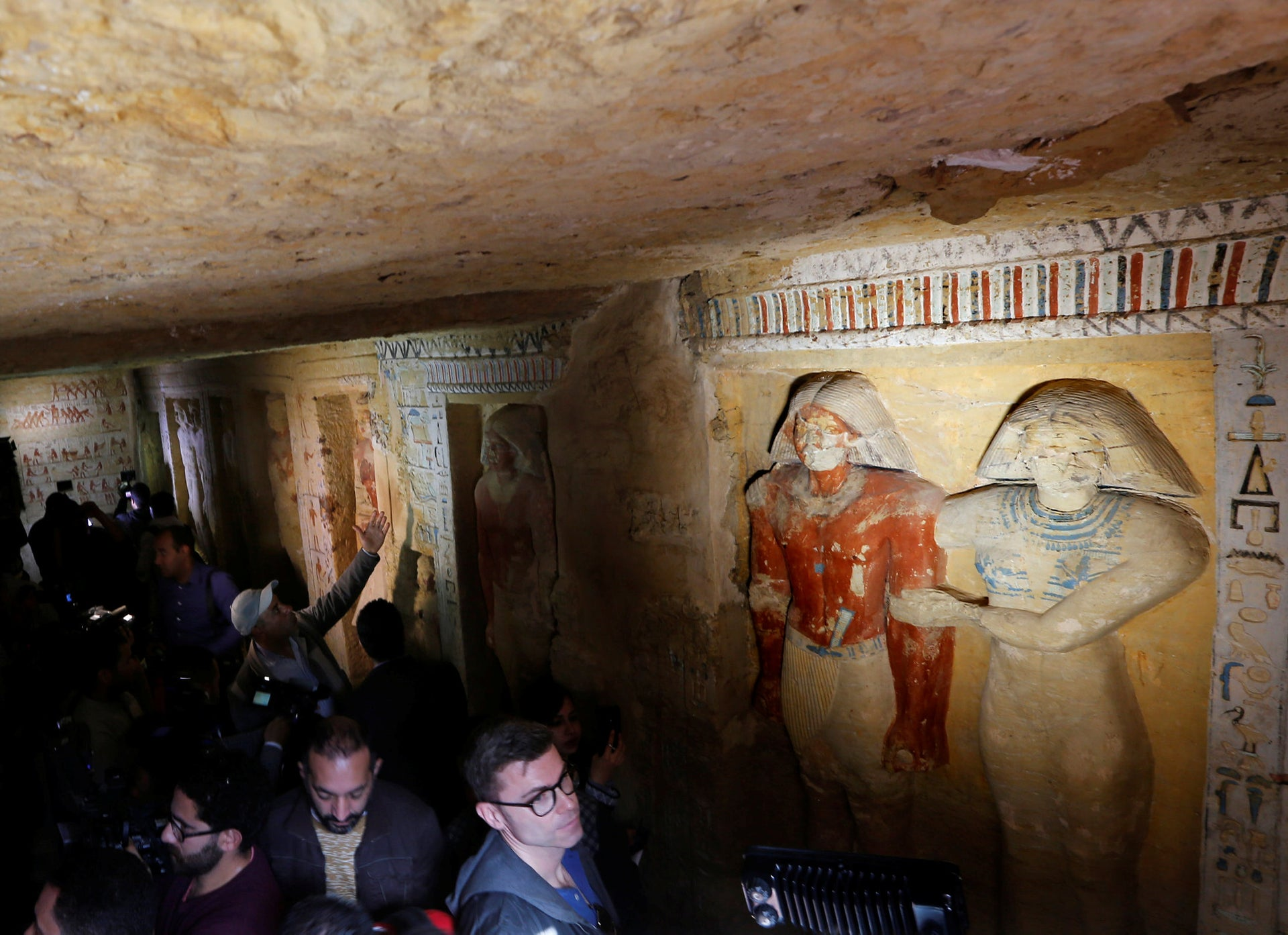 """Uncovered tomb of royal priest during the reign of King Nefer Ir-Ka-Re, named """"Wahtye"""", at the site of the step pyramid of Saqqara, in Giza, Egypt, December 15, 2018."""
