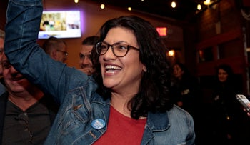 Rashida Tlaib reacts after appearing at her midterm election night party in Detroit, Michigan, U.S. November 6, 2018.