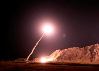 Iranian missile is fired from city of Kermanshah in western Iran targeting the Islamic State group in Syria