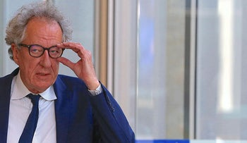Australian actor Geoffrey Rush reacts as he arrives at the Federal Court in Sydney, Australia, November 1, 2018