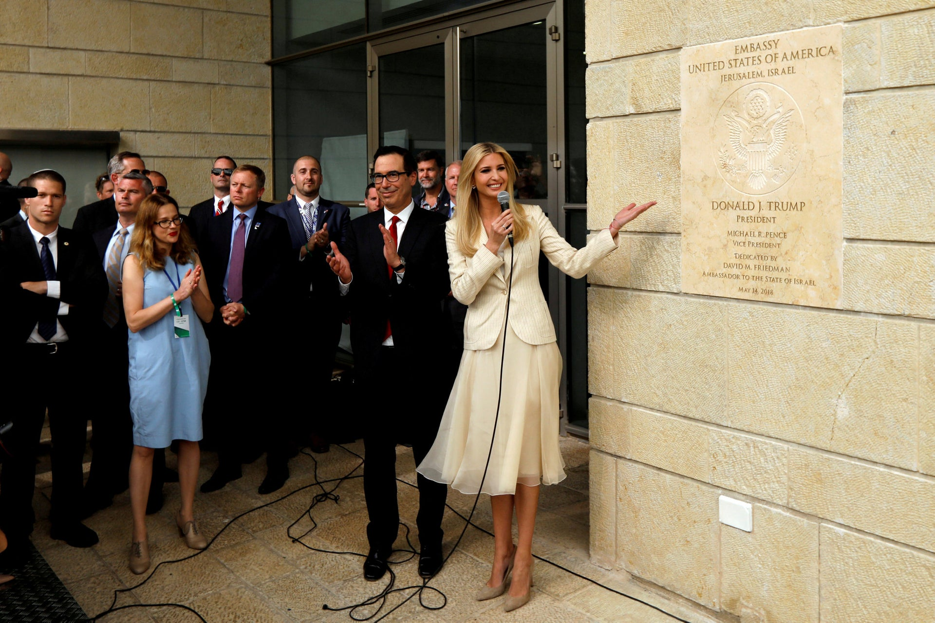 White House Senior Adviser Ivanka Trump and U.S. Treasury Secretary Steven Mnuchin attend the dedication ceremony of the new U.S. embassy in Jerusalem, May 14, 2018.
