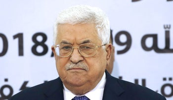 Palestinian President Mahmoud Abbas chairs a meeting of Fatah movement's advisory council in the West Bank city of Ramallah on December 9, 2018.