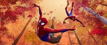 """A scene from """"Spider-Man: Into the Spider-Verse."""" Better than all the Hollywood animation pictures this year."""