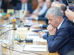 FILE Photo: Finance Minister Moshe Kahlon in a cabinet meeting, November 2018.