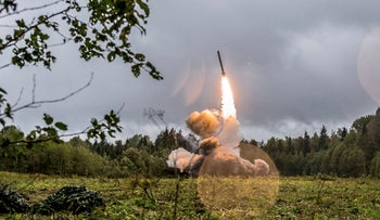 A Russian Iskander-K missile launched during a military exercise at a training ground at the Luzhsky Range, near St. Petersburg, Russia, on September 19, 2017.
