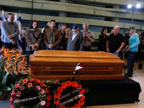 Ramon's coffin at the Peres Center in Jaffa.