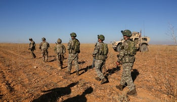 American and Turkish soldiers during joint patrol outside Manbij, Syria, November 1, 2018.
