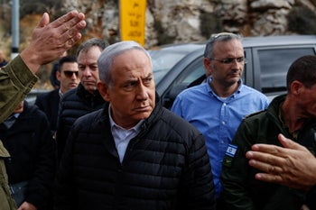 Prime Minister Benjamin Netanyahu touring the West Bank on December 18, 2018.
