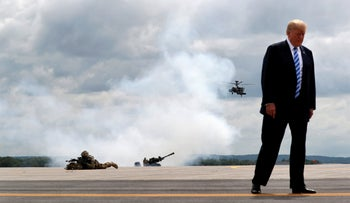 U.S. President Donald Trump at a military base in New York, August, 2018.
