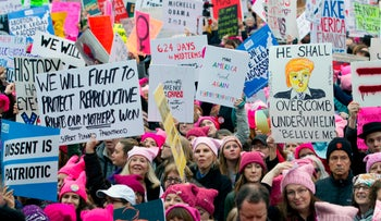 FILE Photo: Demonstrators during the Women's March in Washington, January 21, 2017.