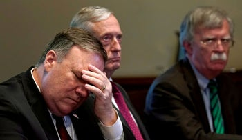 File photo:From left, U.S. Secretary of State Mike Pompeo, Secretary of Defense James Mattis and national security adviser John Bolton attend a meeting in Washington, May 17, 2018.