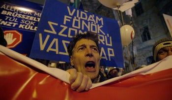Sympathizer of non-parliamentary 'Hungarian Two-Tailed Dog Party' in protest against changes to the labor code, Budapest, December 21, 2018.