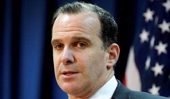 Brett McGurk, the U.S. envoy for the global coalition against IS, speaks during a news conference at the U.S. Embassy Baghdad, Iraq, June 2017.