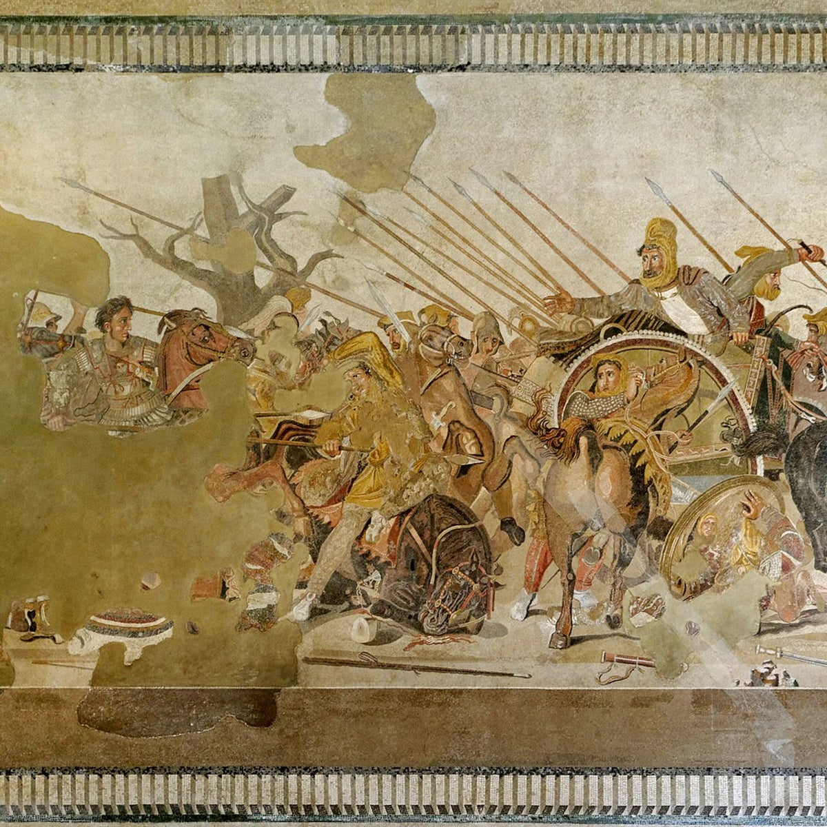The Battle of Issus, between Alexander the Great on horseback to the left, and Darius III in the chariot to the right, represented in a Pompeii mosaic dated 1st century BC
