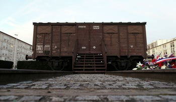 This December 9, 2013 file photo shows a train boxcar which symbolized the Drancy transit deportation camp, at the Holocaust memorial center in Drancy, France.