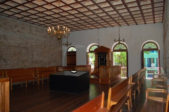 The interior of the Kahal Zur synagogue, once a large Orthodox establishment in Recife, Brazil, that was restored in 2002 as a museum and also contains a small egalitarian shul.