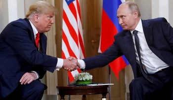 FILE Photo: U.S. President Donald Trump and Russian President Vladimir Putin during a meeting at the Presidential Palace in Helsinki, Finland, July 16, 2018.