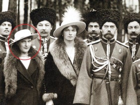 Byline The Romanovs visiting a regiment during WWI. Left: Grand Duchess Anastasia.
