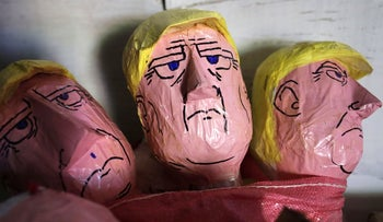 Handmade puppets of U.S. President Donald Trump made from old clothes to represent the past year and traditionally burned to welcoming the New Year. December 29, 2018