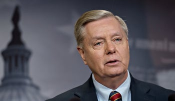 Senator Lindsey Graham speaking during a news conference at the U.S. Capitol in Washington, December 20, 2018.