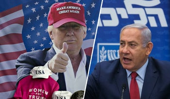 U.S. President Donald Trump during a rally in Michigan, April 28, 2018 / Prime Minster Benjamin Netanyahu at the December 24 news conference announcing elections on April 9, 2019.