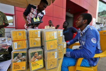 Sim cards by MTN, one of the biggest cellular companies in Africa.