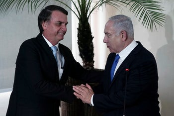 Netanyahu and Bolsonaro in Brazil.