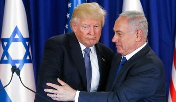 U.S. President Donald Trump and Israeli Prime Minister Benjamin Netanyahu speaking during the former's visit to Israel, May 2017.