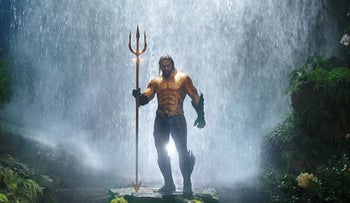 """Jason Momoa, in """"Aquaman."""" The screenwriters grasped the potential latent in the sea, the world's biggest territory, as mysterious as outer space."""