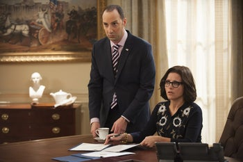 "Tony Hale and Julia Louis-Dreyfus in ""Veep."" If the final season is half as sharp as the previous six, we're in for a treat."