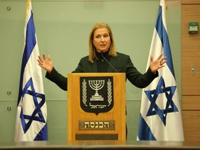 Tzipi Livni at a news conference at the Knesset.