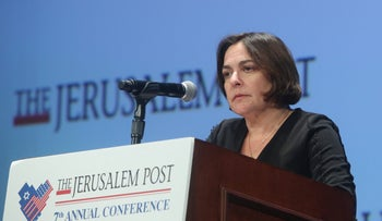 Journalist Caroline Glick attends the Jerusalem Post Annual Conference, New York, April 29, 2018.