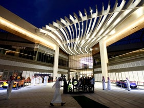 People seen at Riyadh Park during the opening of a cinema, April 30, 2018.