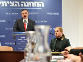 Avi Gabbay and Tzipi Livni at a press conference, Jerusalem, January 1, 2019.