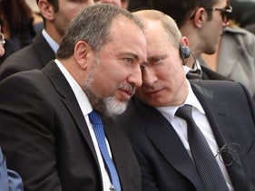Yisrael Beiteinu leader with Russian President Vladimir Putin during the latter's visit to Israel in 2012.