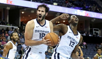 Memphis Grizzlies' Omri Casspi (18) and Jaren Jackson Jr. during the first half of a preseason NBA basketball game against the Indiana Pacers, Memphis, Tennessee, October 6, 2018.