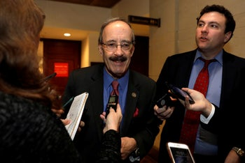 Rep. Eliot Engel (Democrat of New York) speaking with reporters on Capitol Hill, Washington, December 12, 2018.