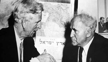 James G. McDonald with Prime Minister David Ben-Gurion in 1949, while serving as the first U.S. ambassador to Israel.