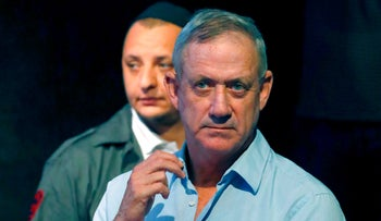 Former Israeli Army's Chief of Staff Lieutenant General Benny Gantz attends a memorial service for late Israeli writer Amos Oz in Tel Aviv on December 31, 2018.