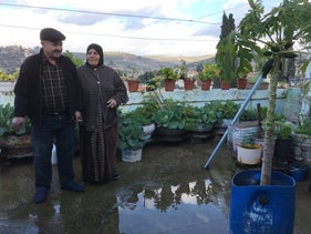 Fahima and Jihad Hirsheh on their rooftop, January 2019.